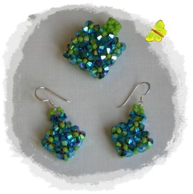 conjunto anillo y pendientes azul y verde