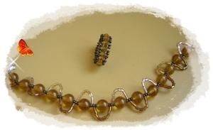 conjunto pulser y anillo color marrón