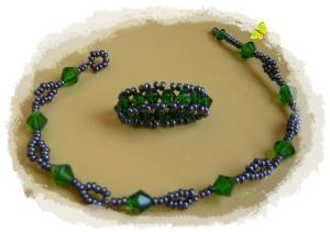 conjunto pulsera y anillo en verde