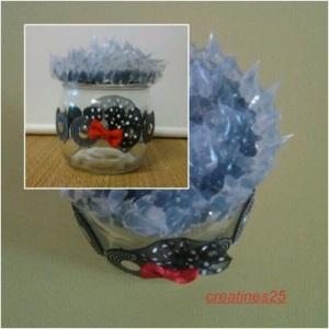 mosaico bote cristal negro